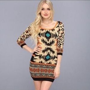 Flying Tomato Leopard Print Boho Bodycon Dress S